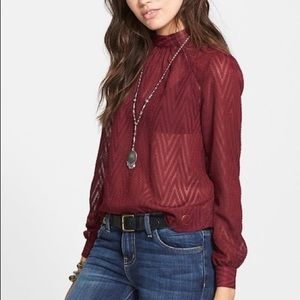 Free People Burgundy Sheer Tucking Chevron Top S